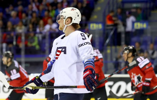 Buffalo Sabres center Jack Eichel had two goals and six assists in eight games with the United States at the IIHF World Championship. (Getty Images)