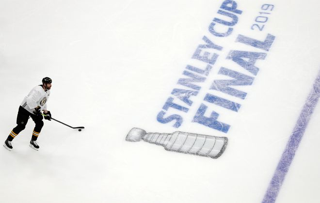 Zdeno Chara of the Boston Bruins practices Sunday (Patrick Smith/Getty Images)