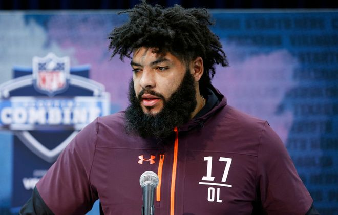 Offensive lineman Cody Ford of Oklahoma speaks to the media during day one of interviews at the NFL Combine at Lucas Oil Stadium on February 28, 2019 in Indianapolis, Indiana. (Photo by Joe Robbins/Getty Images)