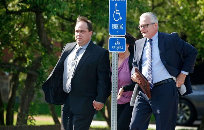 Kenneth Achtyl, left, arrives in court with his attorney, Rodney O. Personius, on May 23, 2019. (Robert Kirkham/News file photo)