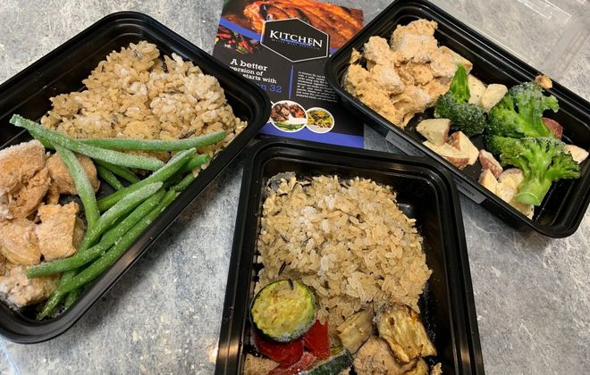 Kitchen 32 franchises offer 25 prepared meals ready after a couple of minutes in a microwave. Meals rotate and at times include Teriyaki Chicken, Peanut Butter Thai Chicken and Bang Bang Chicken. (Scott Scanlon/Buffalo News)