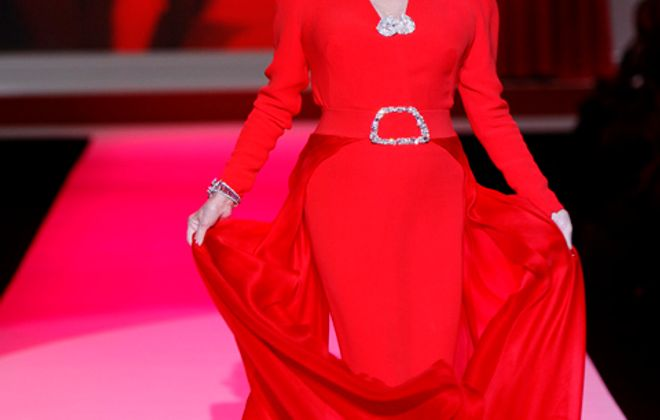 Joan Collins in a design by Stephane Rolland for The Heart Truth's Red Dress Collection 2010.