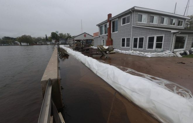 Sandbags lined the property around the Olcott Yacht Club in May 2019. Water levels along Lake Ontario hit record highs last year. (John Hickey/Buffalo News)