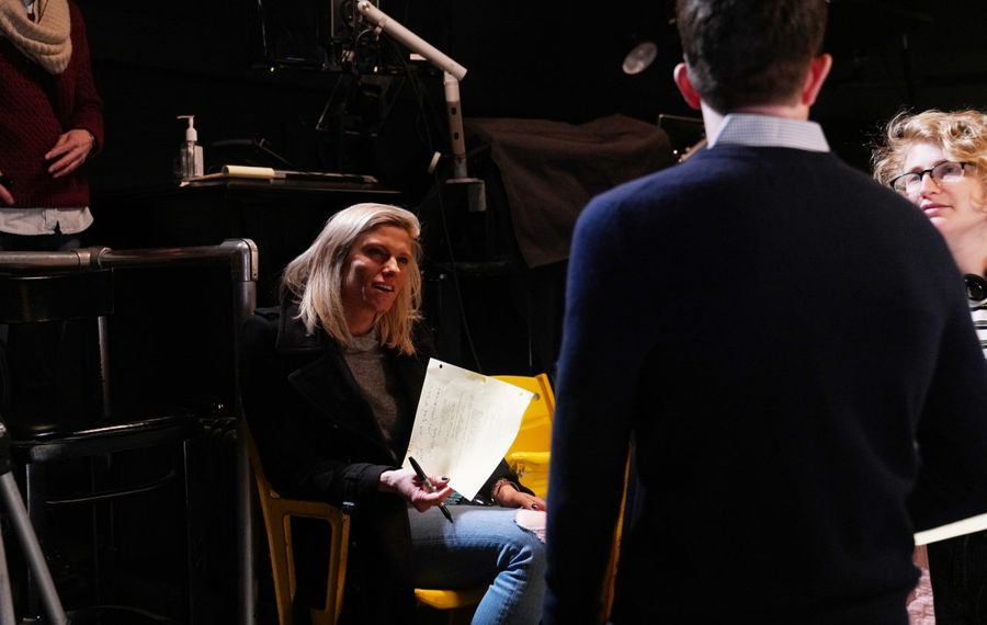 """Lindsay Shookus with comedian John Mulaney on the set of NBC's """"Saturday Night Live"""" in March 2019. (Rosalind O'Connor/NBC)"""