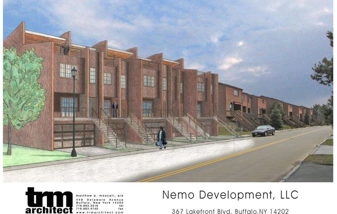 A rendering of the proposed town house development at 367 Lakefront Blvd., originally by Nemo Development but now by Colby Development. (Image courtesy of TRM Architects)
