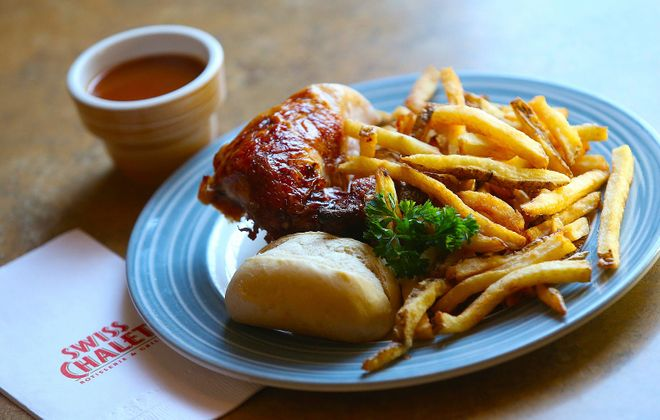 A 2013 photo of the quarter chicken, fresh cut fries and unique dipping sauce at Swiss Chalet Restaurant and Grill on Montrose Road in Niagara Falls, Ont.  (Robert Kirkham/News file photo)