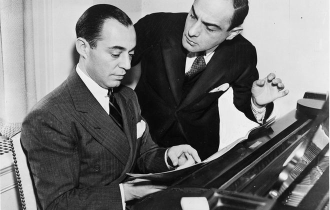 Lorenz Hart, right, works on a song with composer Richard Rodgers in 1936. (New York World Telegram & Sun photographer)