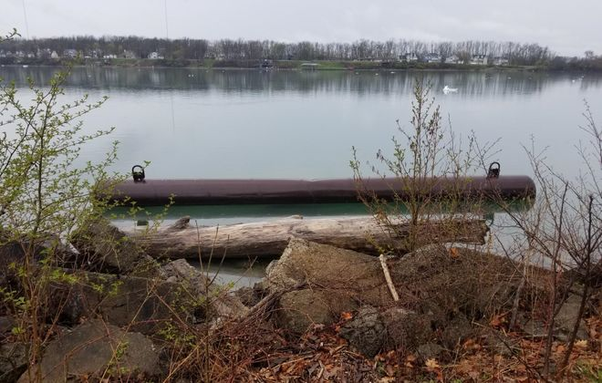 A portion of the ice boom, which is made up of steel pontoons, was found in Niawanda Park. (City of Tonawanda Police Department)