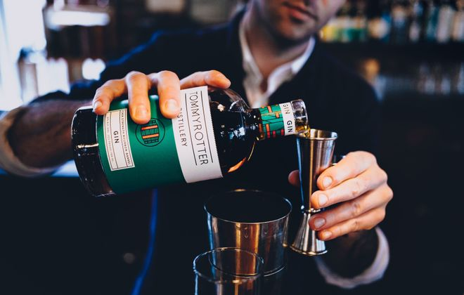 Tommyrotter Distillery's Cask Strength Bourbon-Barrel Gin received the coveted Chairman's Trophy at the Ultimate Spirits Challenge. (Photo courtesy Tommyrotter Distillery)