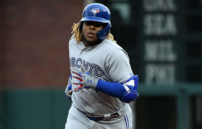 Vladimir Guerrero Jr. rounds the bases after hitting his first major-league home run for the Toronto Blue Jays Tuesday night in San Francisco (Getty Images).