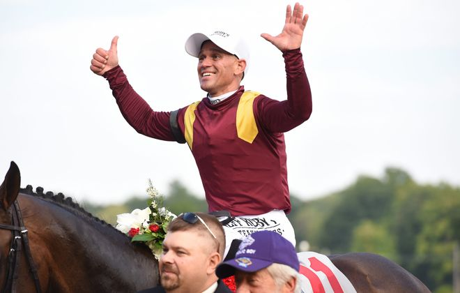 Javier Castellano after winning a record sixth Travers Stakes at Saratoga last summer. Photo Credit: Chris Rahayel/NYRA