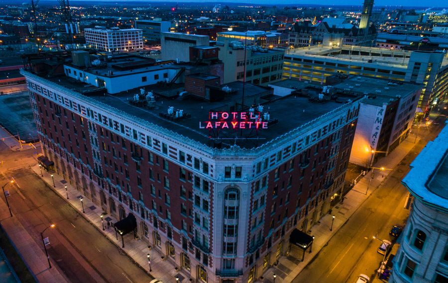 Opponents of expanding prevailing wage said it would impede future redevelopments, like the revival Hotel Lafayette underwent. (News file photo)