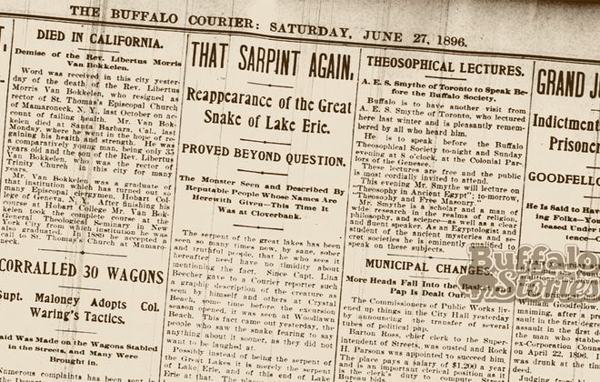 """The report of the Lake Erie  """"sarpint"""" as it appeared in the Buffalo Courier."""