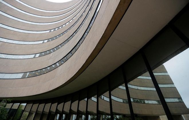 Maytum Hall at SUNY Fredonia, designed by Henry Cobb of Pei Freed and Partners, 1968. (Mark Mulville/Buffalo News)
