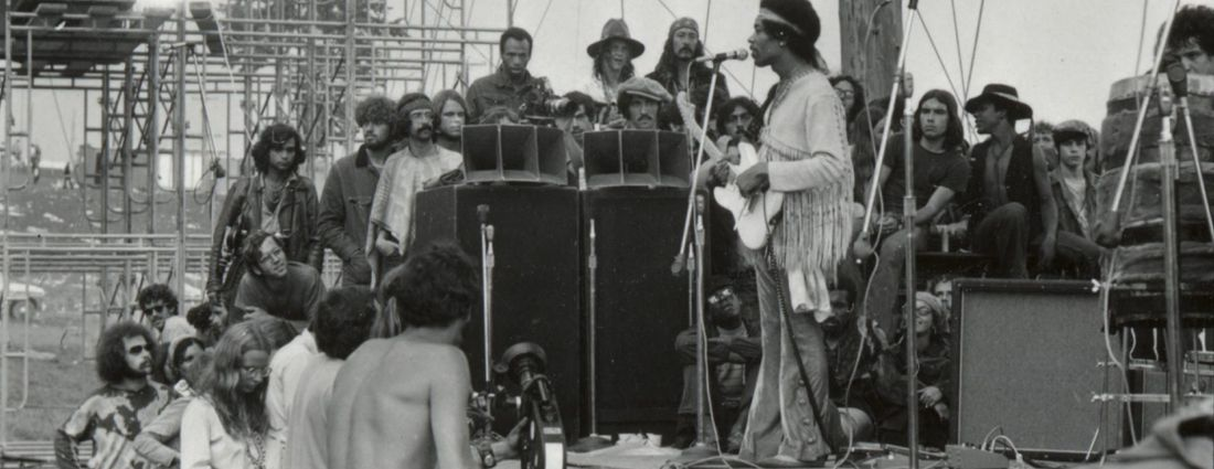 Jimi Hendrix performing at Woodstock in August 1969. (Larry C. Morris/The New York Times)