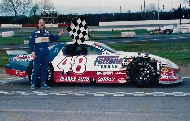 Rick Wylie captured 60 checkered flags while competing in the NASCAR Late Model feature race at Holland Speedway. (Photo courtesy of Howard Boundy)