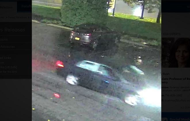 UB police released this surveillance camera image of a car believed to have been involved in a hit-and-run that left a student critically injured Nov. 1. (Photo courtesy of UB police)