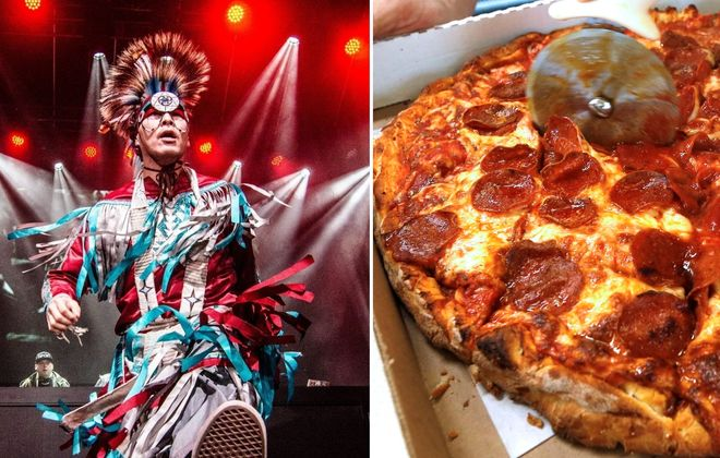 Strawberry Moon Festival in Artpark includes a Tribe Called Red, left, while the People's Championship, led by SexySlices, will name Buffalo's best pizza. (Photo by Drew York; Robert Kirkham/News file photo)