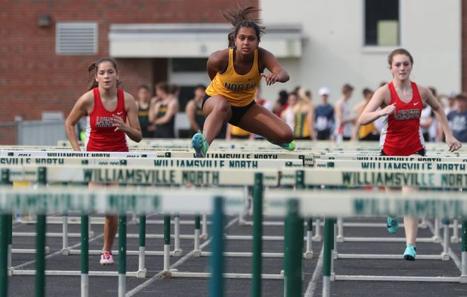Williamsville North's Kayla Bailey wins the 100-meter hurdles at Williamsville North High School on May 1, 2019.  (James P. McCoy/Buffalo News)