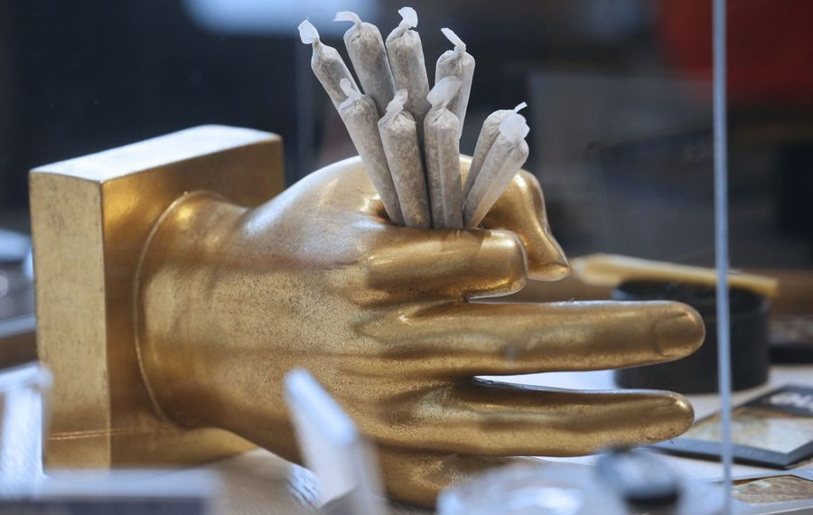 """New York lawmakers have not come up with a deal to legalize marijuana. Here, pre-rolled marijuana """"joints"""" are on display at a shop in Toronto.  (Robert Kirkham/Buffalo News)"""