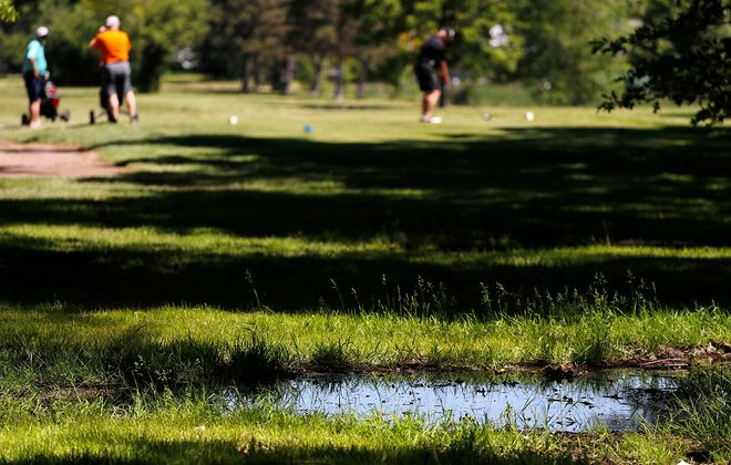 Golfers play a round at a waterlogged Brighton Golf Course in the Town of Tonawanda on June 8. (Mark Mulville/Buffalo News)