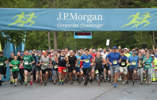 More than 13,800 runners participated in the 2019 Corporate Challenge at Delaware Park. (James P. McCoy/Buffalo News file)