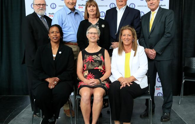 The Greater Buffalo Sports Hall of Fame Class of 2019, Front row: Dorothy Jones, Barbara Wachowiak, Colleen Kelleher (daughter of Ed Hughes). Back row: Joe Horrigan, Pete Scamurra, Peggy Wattles-Dreyden (granddaughter of Peggy Wattles), Chuck Crist and Len Jankiewicz. (Harry Scull Jr./Buffalo News)