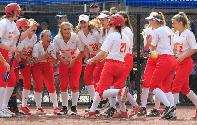 Williamsville East batter Rachel Steffan is congratulated after a first-inning solo home run against Walter Panas during the  NYSPHSAA Class A State Semifinal Softball Championships at Moreau Recreational Park on Saturday, June 15, 2019. (Harry Scull Jr./Buffalo News)