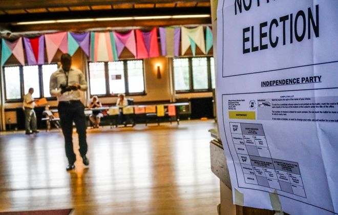 Sample ballots are posted at the entrance to the polling place in the Unitarian Universalist Church of Buffalo on Tuesday, June 25, 2019. (Derek Gee/Buffalo News)