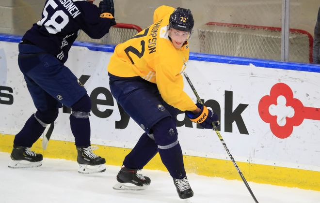 Tage Thompson works the puck during a development camp drill Wednesday in Harborcenter. (Harry Scull Jr./Buffalo News)