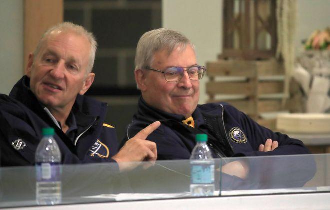 Buffalo Sabres head coach Ralph Krueger talks with owner Terry Pegula during development camp on Wednesday, June 26, 2019. (Harry Scull Jr./Buffalo News)