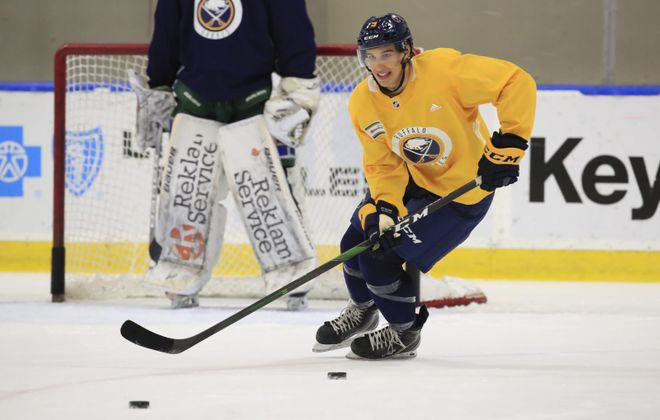 Sabres first-round pick Dylan Cozens is among the interesting players to watch during training camp. (Harry Scull Jr./Buffalo News)