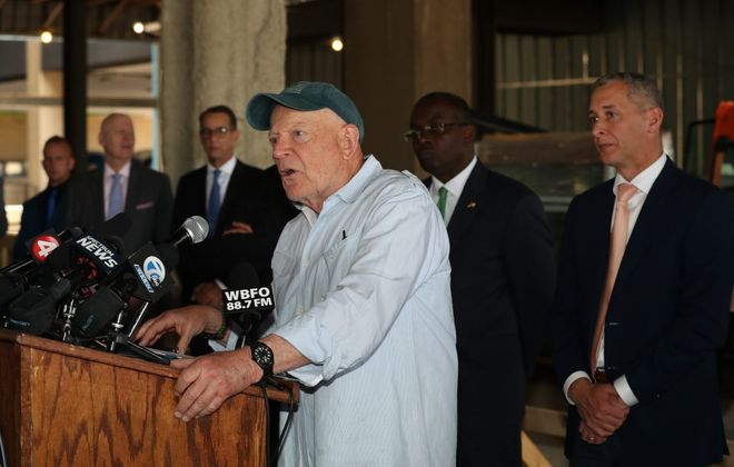 Douglas Jemal, owner of the Seneca One tower, speaks at a press conference on Thursday announcing M&T Bank's plan to locate a technology hub in the 38-story building. (James P. McCoy/Buffalo News)