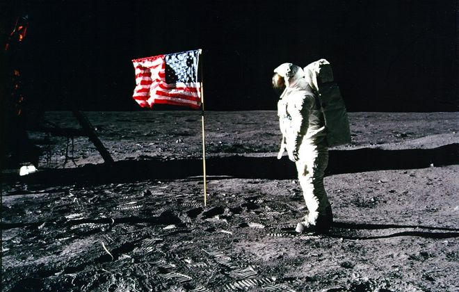 Neil Armstrong took this photo of Buzz Aldrin on the moon with the American flag in 1969 during the Apollo 11 mission. (Neil Armstrong/Nasa)