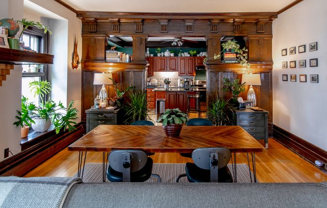 Billy and Pat balanced the abundance of striking original woodwork with industrial-inspired pieces like the Wrafterbuilt dining table and vintage office chairs from Coocoou. (Katie Addo)