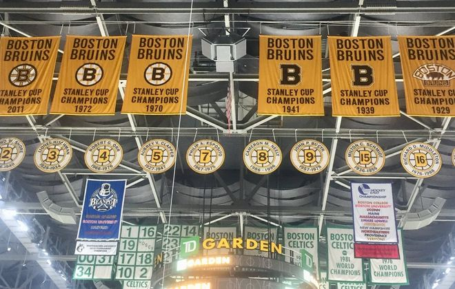 The Boston Bruins have six Stanley Cup banners in the rafters of TD Garden and look to add No. 7 tonight (Mike Harrington/Buffalo News).