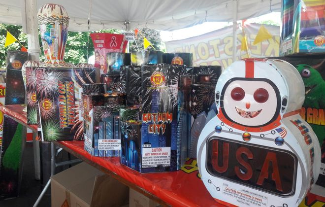Keystone Fireworks is selling a variety of sparkling devices –sparklers and spinners – at tents at 8529 Niagara Falls Blvd. in Niagara Falls and on Niagara Falls Boulevard at Ohio Street in North Tonawanda. (Mike McAndrew/Buffalo News)
