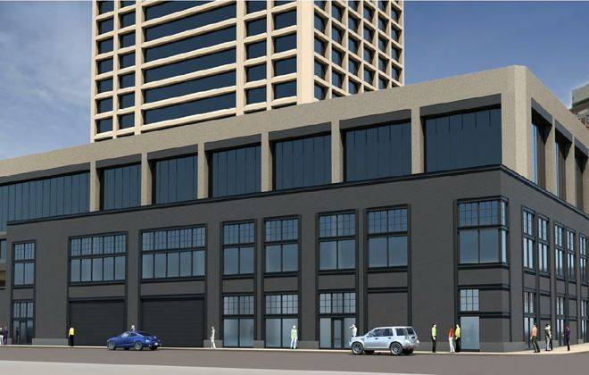 Rendering of the proposed southeast addition to One Seneca Tower. (Courtesy of Douglas Development Corp.)