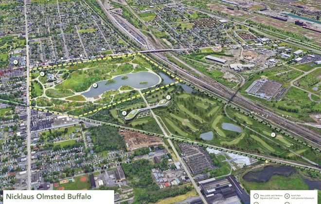 A conceptual rendering of a reimagined South Park and proposed golf course and education center on  former Republic Steel land. CannonDesign created the rendering with Supermass Studio Landscape Architecture. (Image courtesy of Buffalo Real Inc.)
