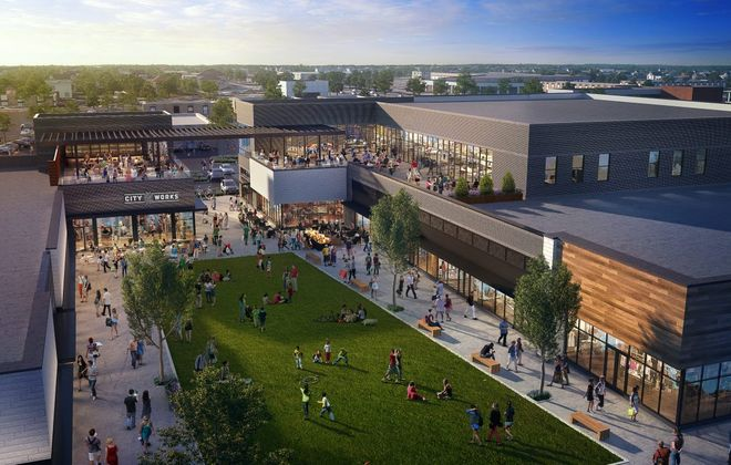 This is a rendering of what Station Twelve, the transformed Northtown Plaza in Amherst, will look like. (Rendering courtesy WS Development)