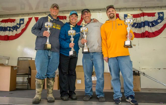 The Oh Baby/Irish Knots squad won their first ever Niagara Pro-Am Tournament May 31 and June 1. High water forced them from a private dock in Wilson to the Town of Newfane Marina due to high water levels. However, it didn't affect the fishing. (Wayne Peters photo)