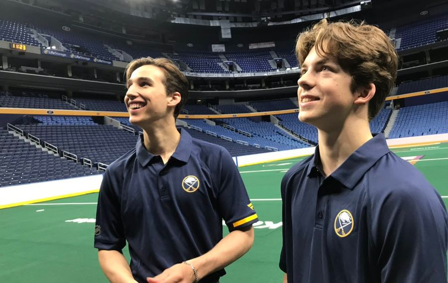 First-rounders Dylan Cozens, left, and Ryan Johnson check out KeyBank Center on Tuesday. (Robert Kirkham/Buffalo News)