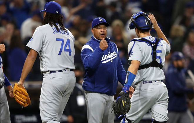 Dodgers manager and Buffalo Baseball Hall of Famer Dave Roberts has had plenty to celebrate thus far as he tries to get his team into a third straight World Series (Getty Images).