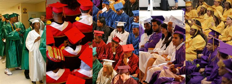 The rainbow of colors found over the years on local graduates at, from left, Seneca Vocational High School; Frederick Law Olmsted High School; Buffalo Public Schools' districtwide commencement; Lafayette High School; and Riverside High School. (News file photos)