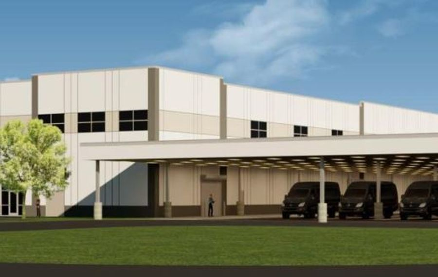 """TM Montante filed this rendering of the warehouse and distribution facility planned for its Riverview Solar Technology Park in the Town of Tonawanda under the code name """"Project Bruno."""" (Image courtesy of the Town of Tonawanda Planning Department)"""