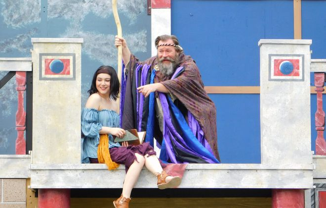 "Christine Turturro (playing Miranda) and David Marciniak (Prospero) are a loving father and daughter   in ""The Tempest,"" presented by Shakespeare in Delaware Park. (Photo courtesy of Brendan Didio)"