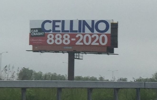 This Cellino & Cellino billboard appeared near the Skyway in June. The firm has changed its name to the Law Offices of Anna Marie Cellino. (Keith McShea/Buffalo News)