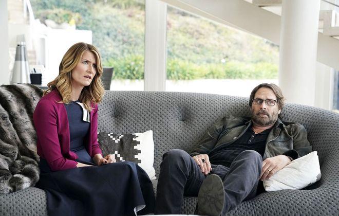 """Jeffrey Nordling's character, Gordon Klein (right), who is married to Laura Dern's Renata Klein, is holding a beer from Buffalo in the latest episode of HBO's """"Big Little Lies."""" (Courtesy of HBO)"""
