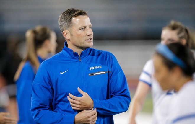 UB women's soccer coach Shawn Burke. (Paul Hokanson, UB)