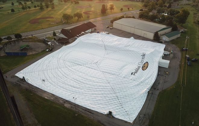The Paddock Chevrolet Golf Dome was deflated in June as part of a reconstruction project. (John Hickey/Buffalo News)